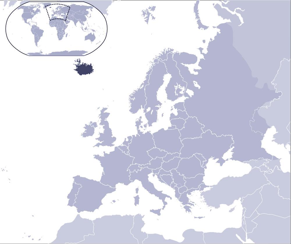 islande sur la carte du monde