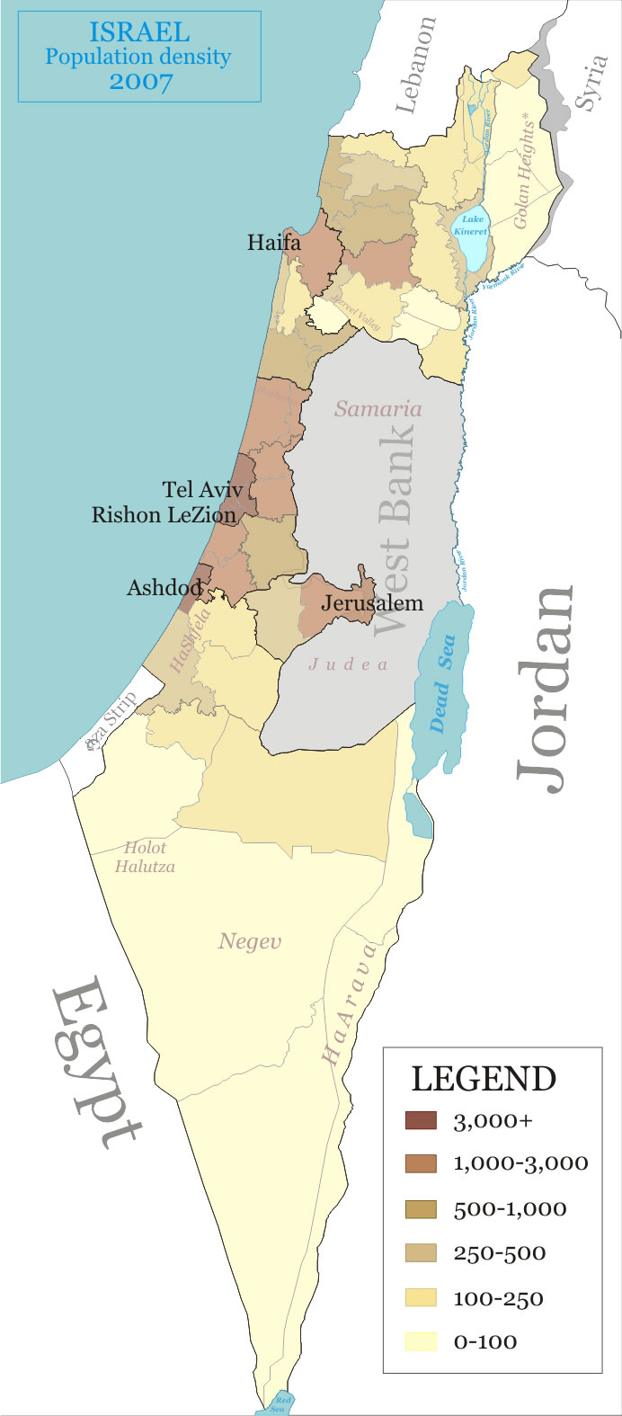 Carte Chypre Israel.Carte Densite Chypre Nord