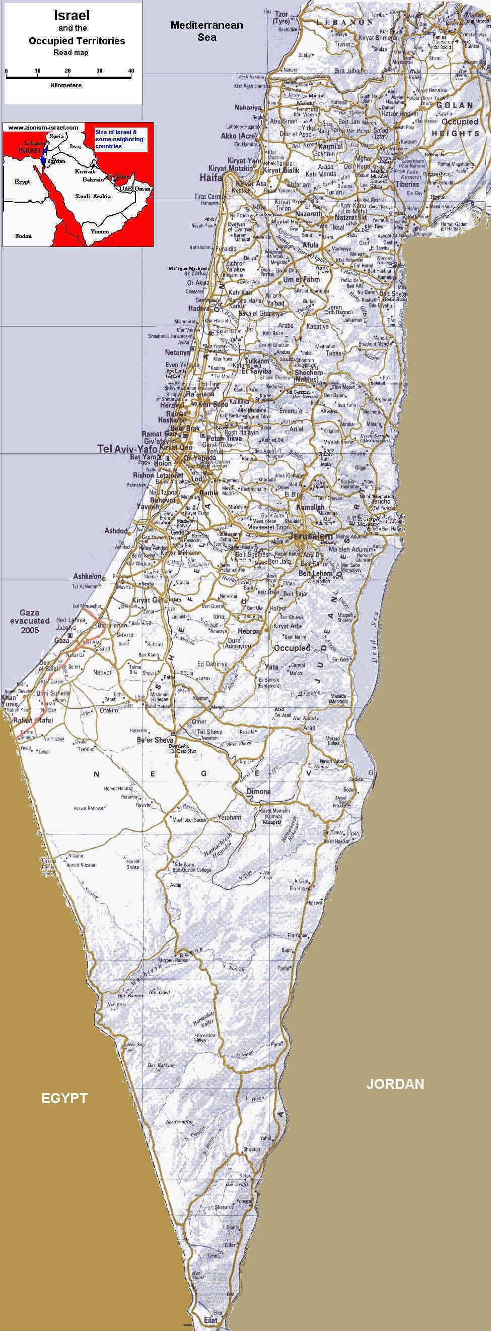 carte detaillee israel - Photo