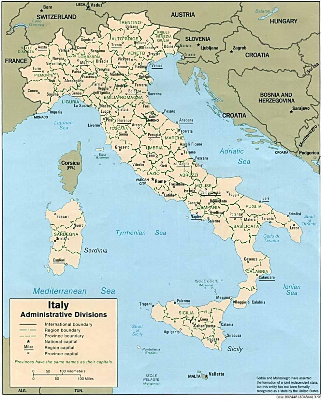 Italie Carte Villes