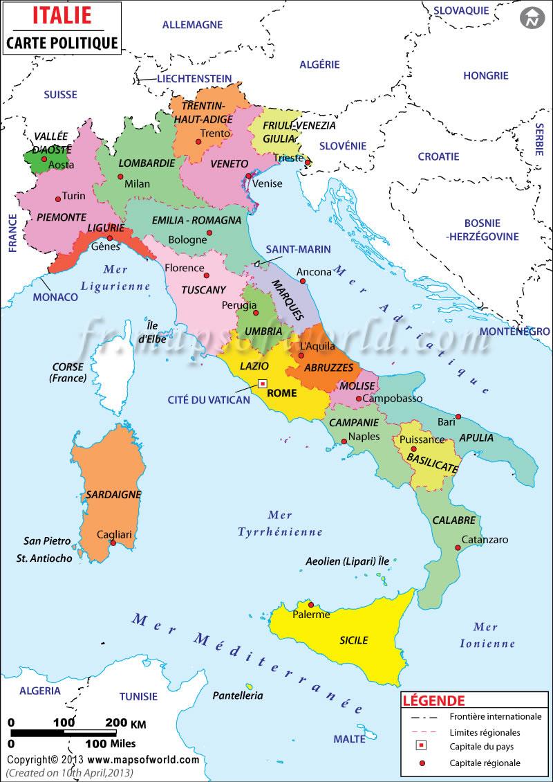 Carte régions Italie, Carte des régions de l'Italie