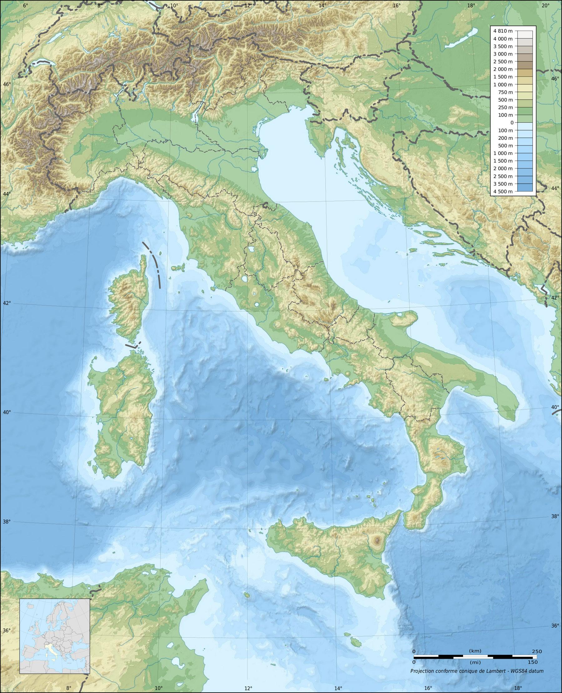 Carte Topographique Italie Carte Topographique De L Italie