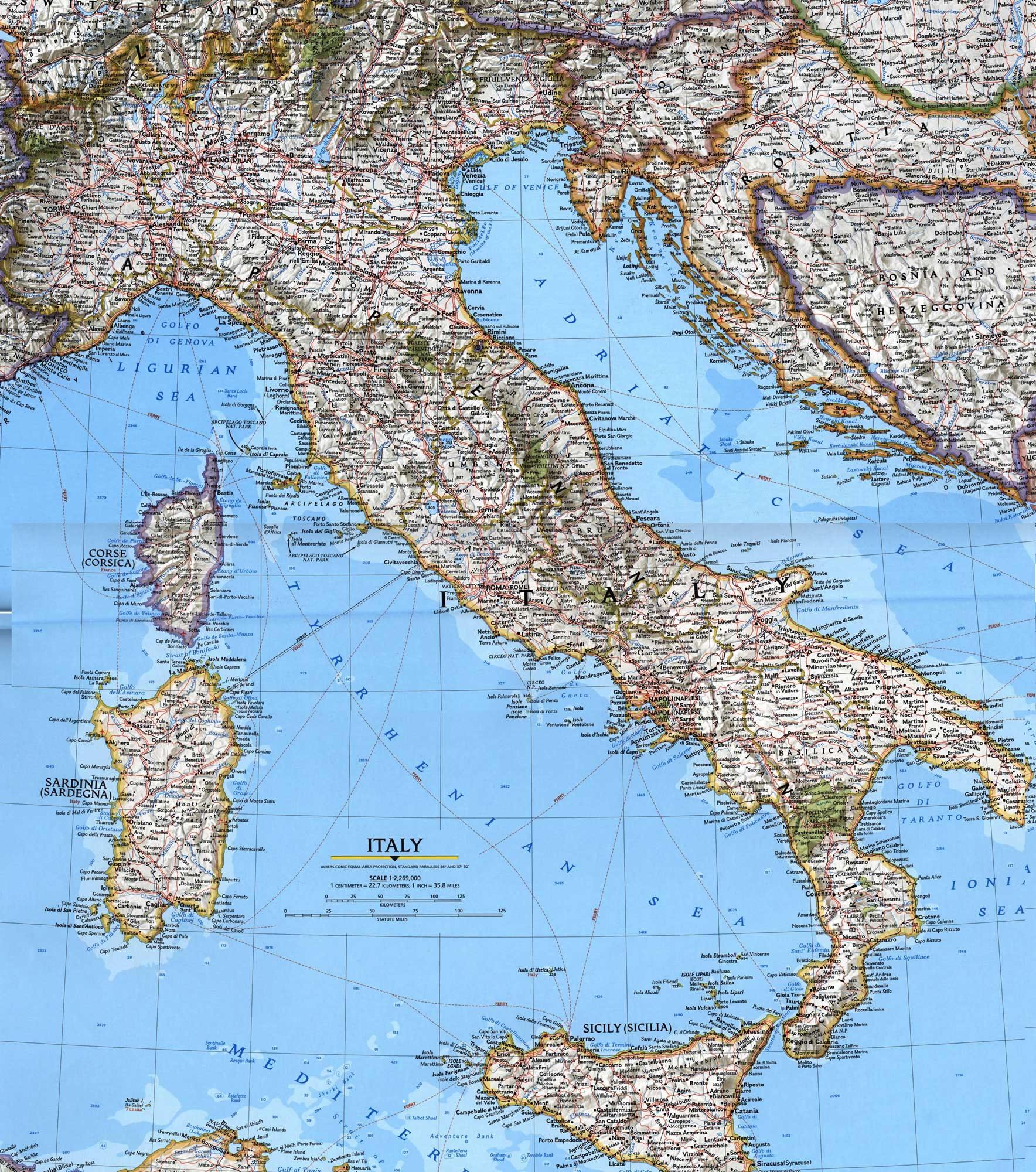 Grande carte Italie, Grande carte de l'Italie