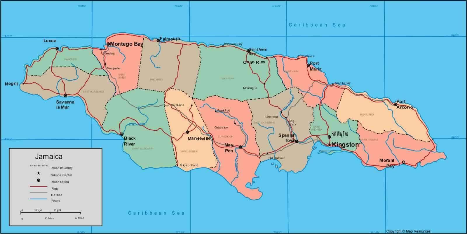 jamaique sur la carte du monde-