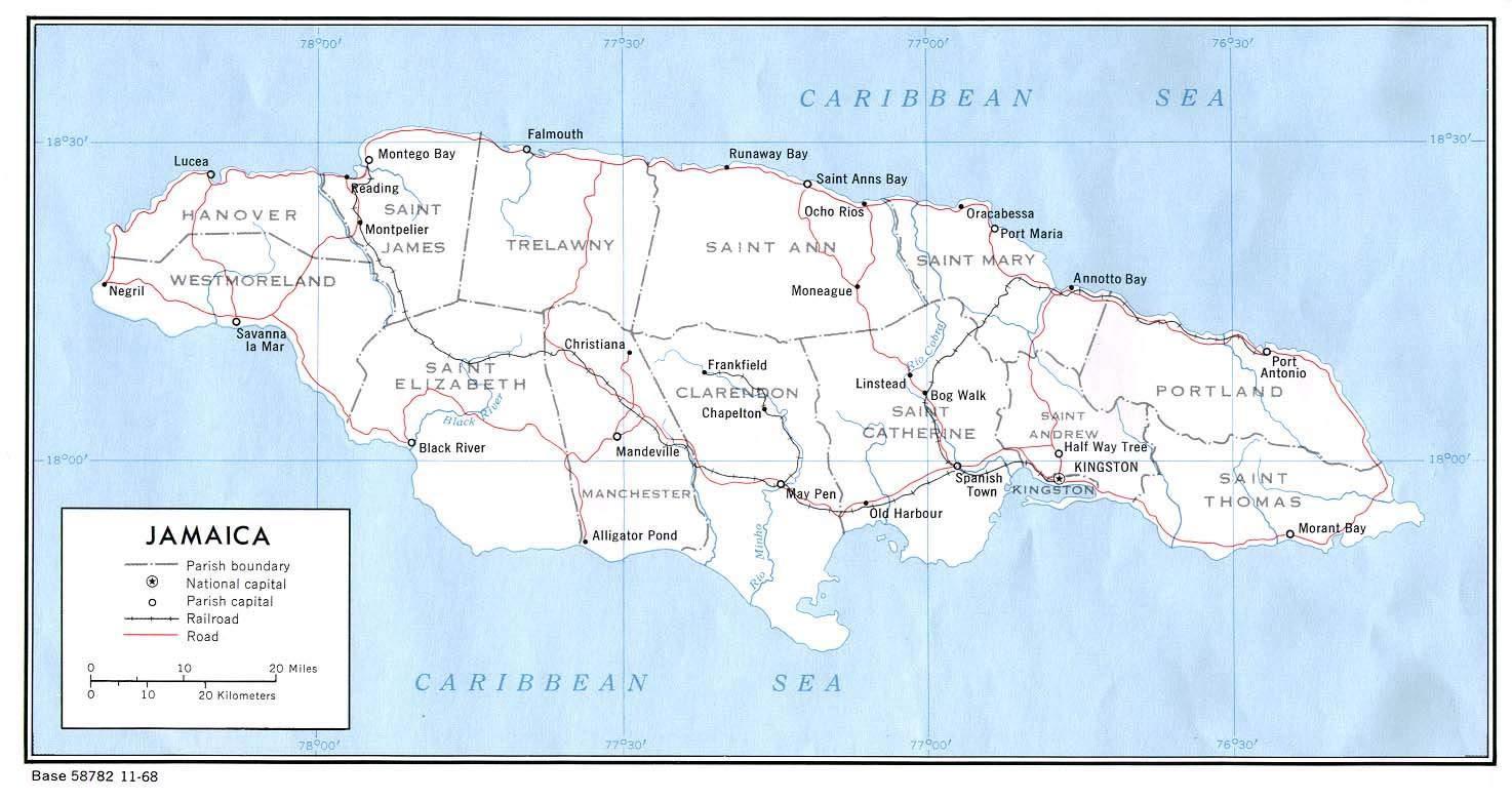 Carte routière Jamaïque, Carte routière de Jamaïque