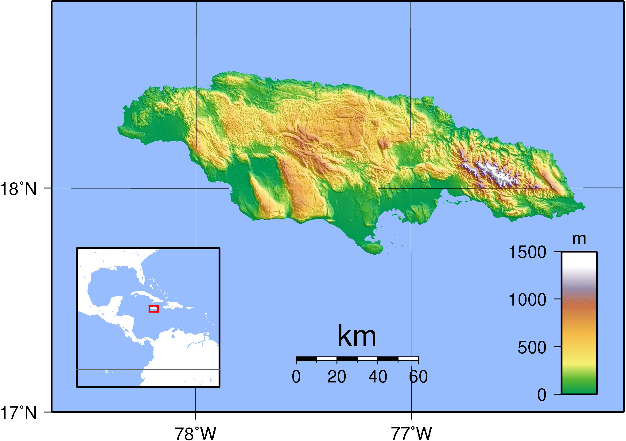Carte topographique Jamaïque, Carte topographique de Jamaïque