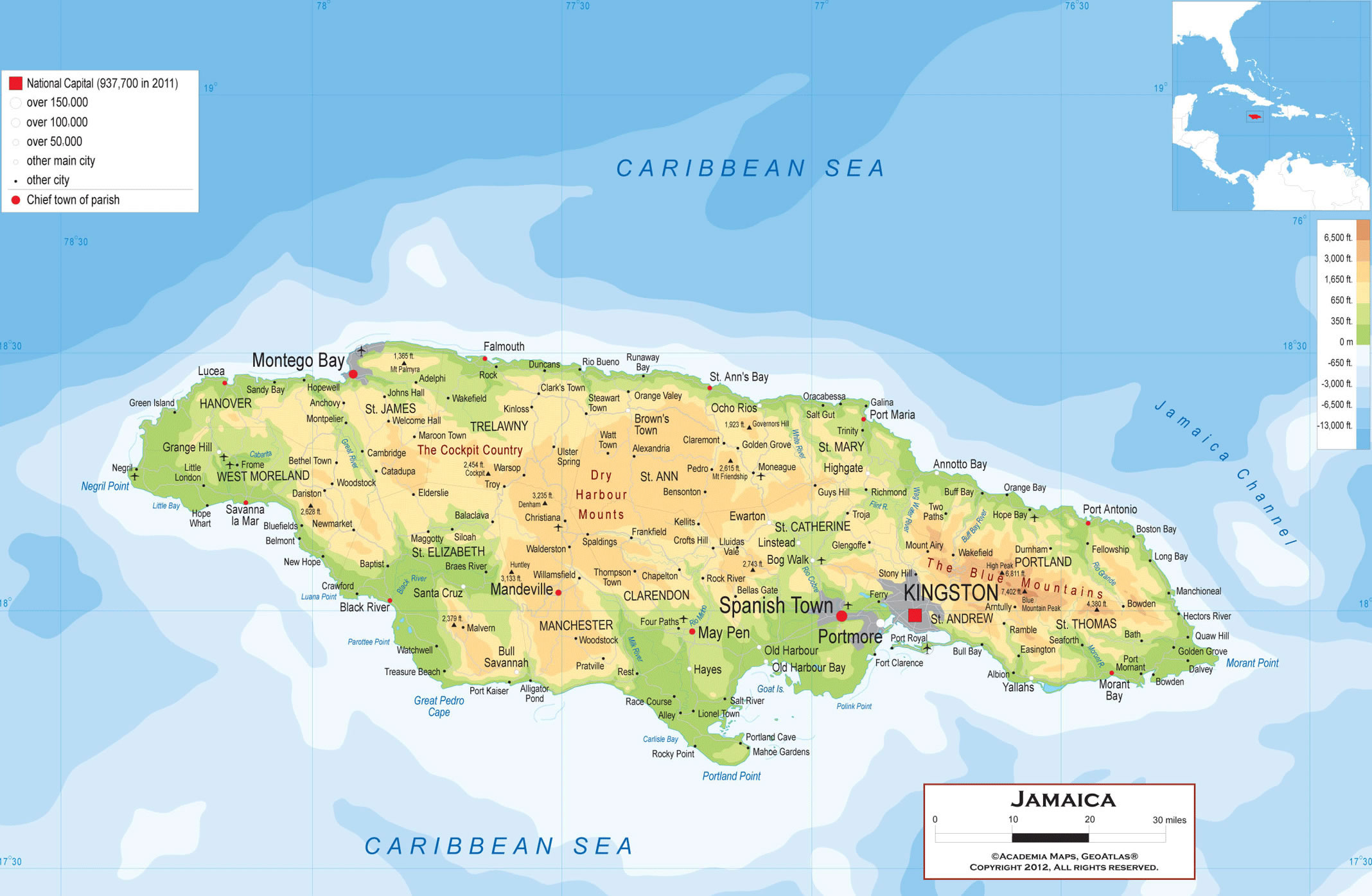 how to draw a map of jamaica
