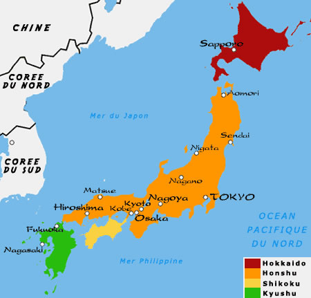 Carte Japon Monde.Carte Regions Japon Couleur Carte Des Regions Du Japon En