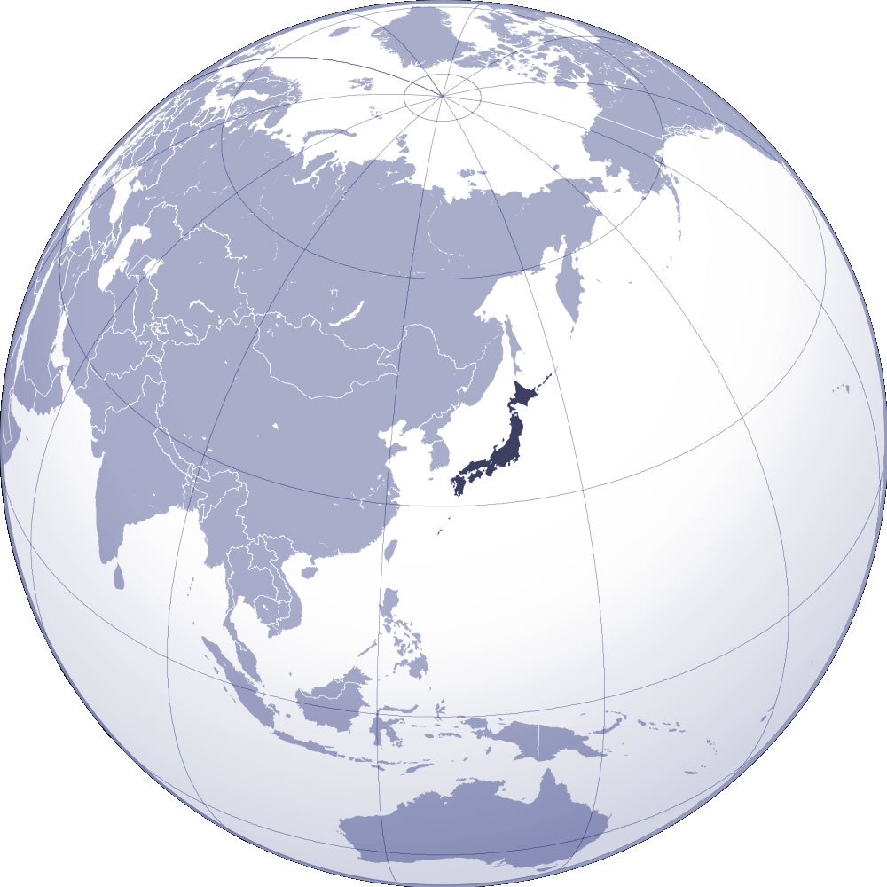 Localiser Japon sur carte du monde, Localiser pays du Japon sur