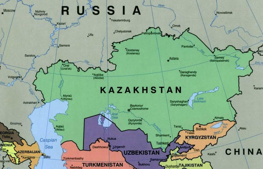 Carte frontières Kazakhstan, Carte des frontières de Kazakhstan