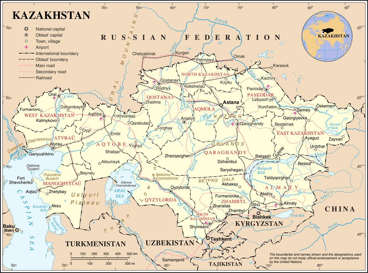 Carte Kazakhstan, Carte du pays Kazakhstan