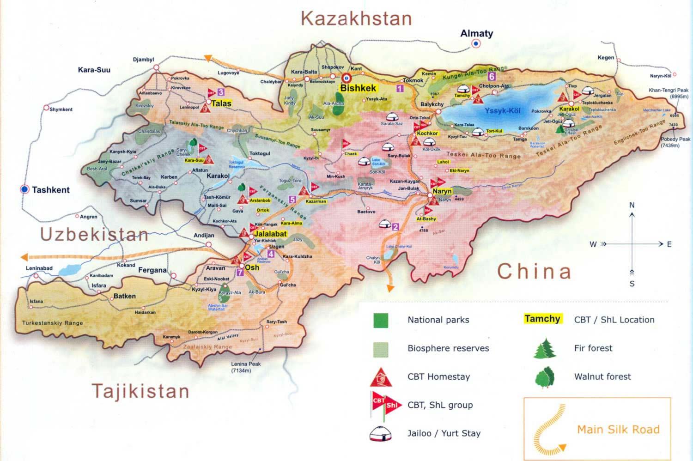 Carte Kirghizistan, Carte du pays Kirghizistan