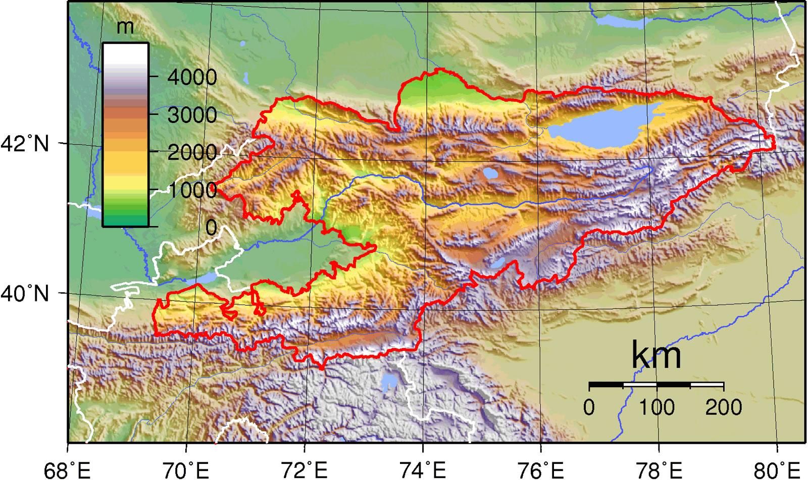 Carte topographique Kirghizistan, Carte topographique de Kirghizistan