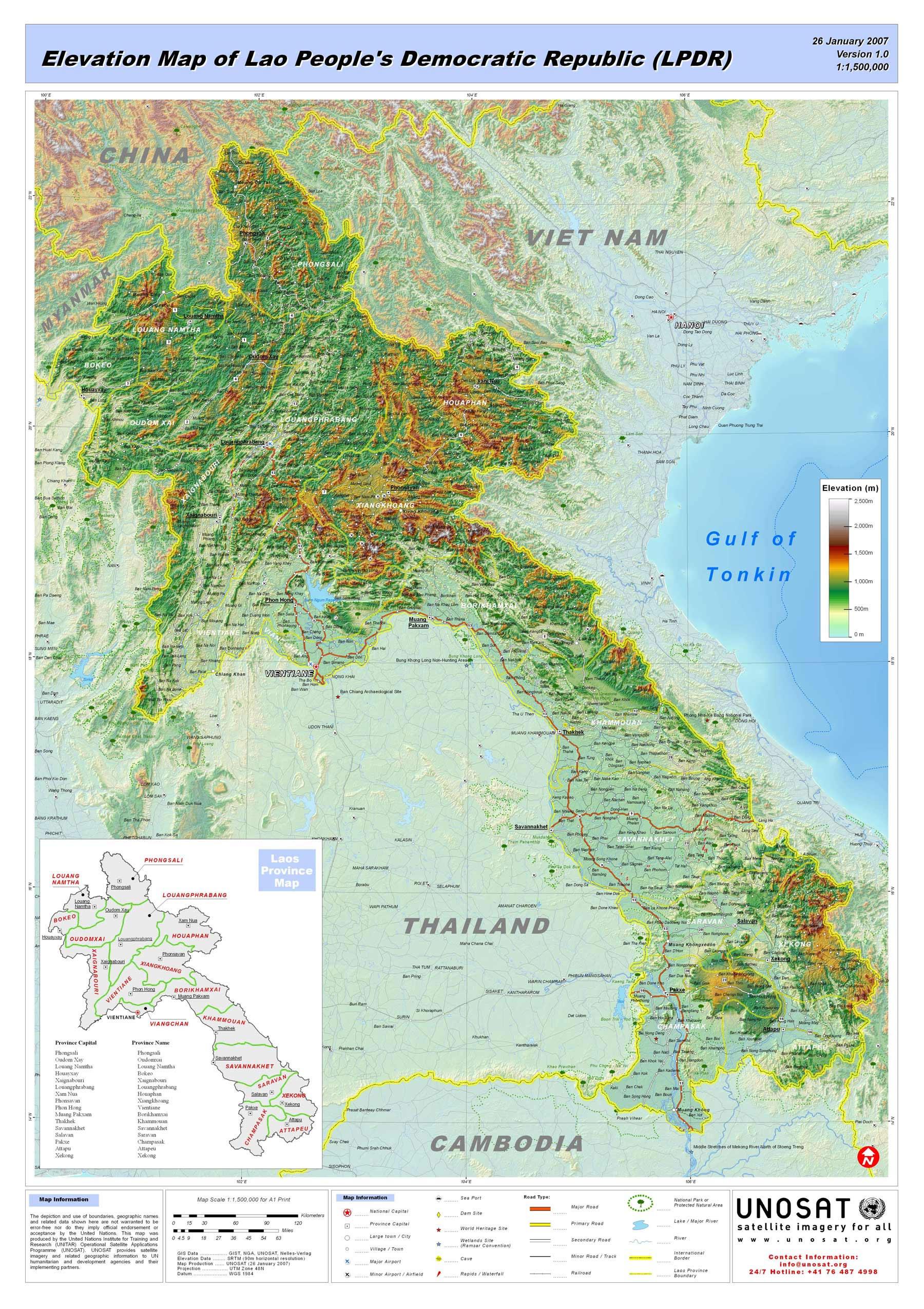 Carte Du Monde Laos.Laos Carte Physique