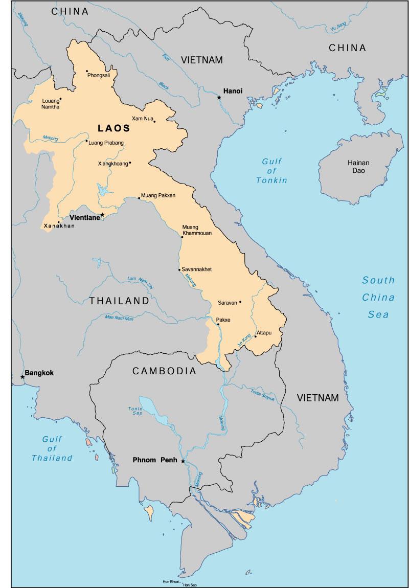 Carte Du Monde Laos.Carte Laos Vierge Couleur Carte Vierge De Laos En Couleur