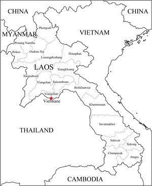 Carte Thailande Noir Et Blanc.Carte Routiere Laos Carte Routiere De Laos