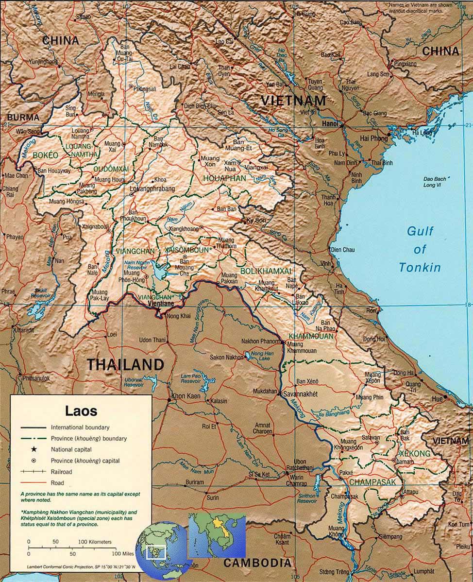 Carte Du Monde Laos.Carte Laos Carte Du Pays Laos