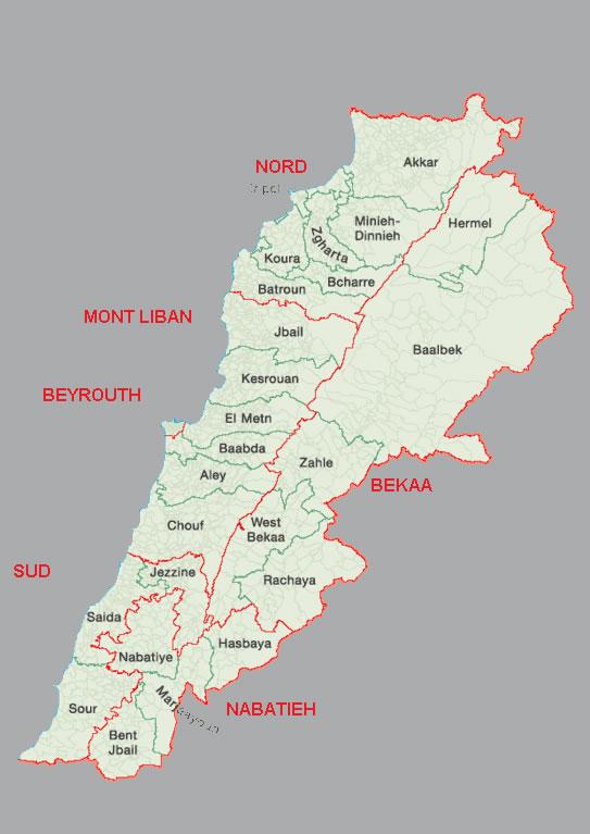 liban carte du monde Carte frontières Liban, Carte des frontières de Liban