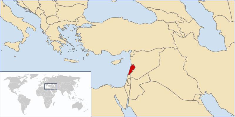 Situer Liban sur carte du monde, Situer pays de Liban sur carte du