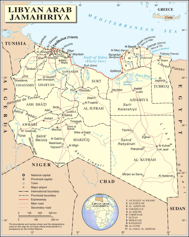 Carte de Lybie, Carte de la Lybie