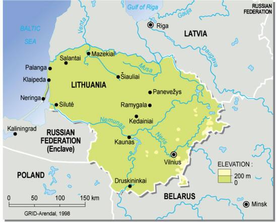 Carte géographique Lituanie, Carte géographique de Lituanie