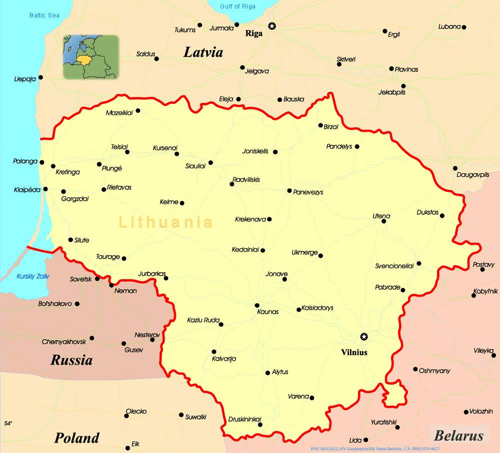 Carte des villes Lituanie, Carte des villes de Lituanie