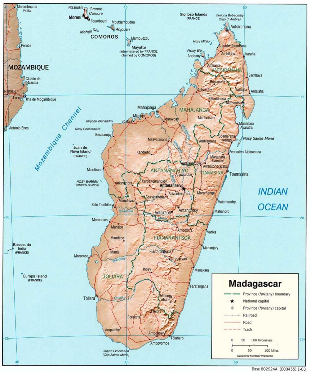Carte Topographique De Madagascar.Carte Relief Madagascar Carte Des Reliefs De Madagascar