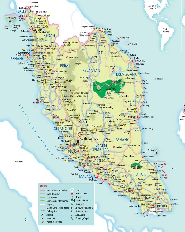 Carte Malaisie, Carte de la Malaisie
