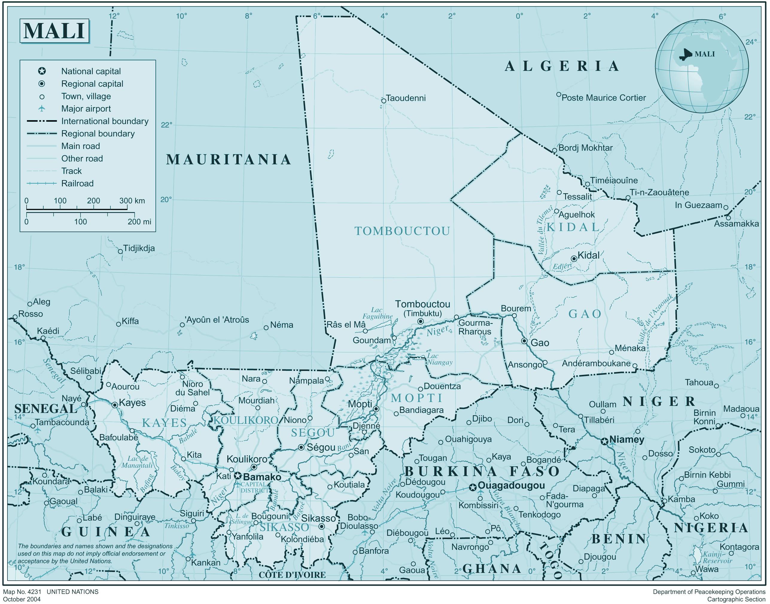 Carte Mali, Carte du pays Mali