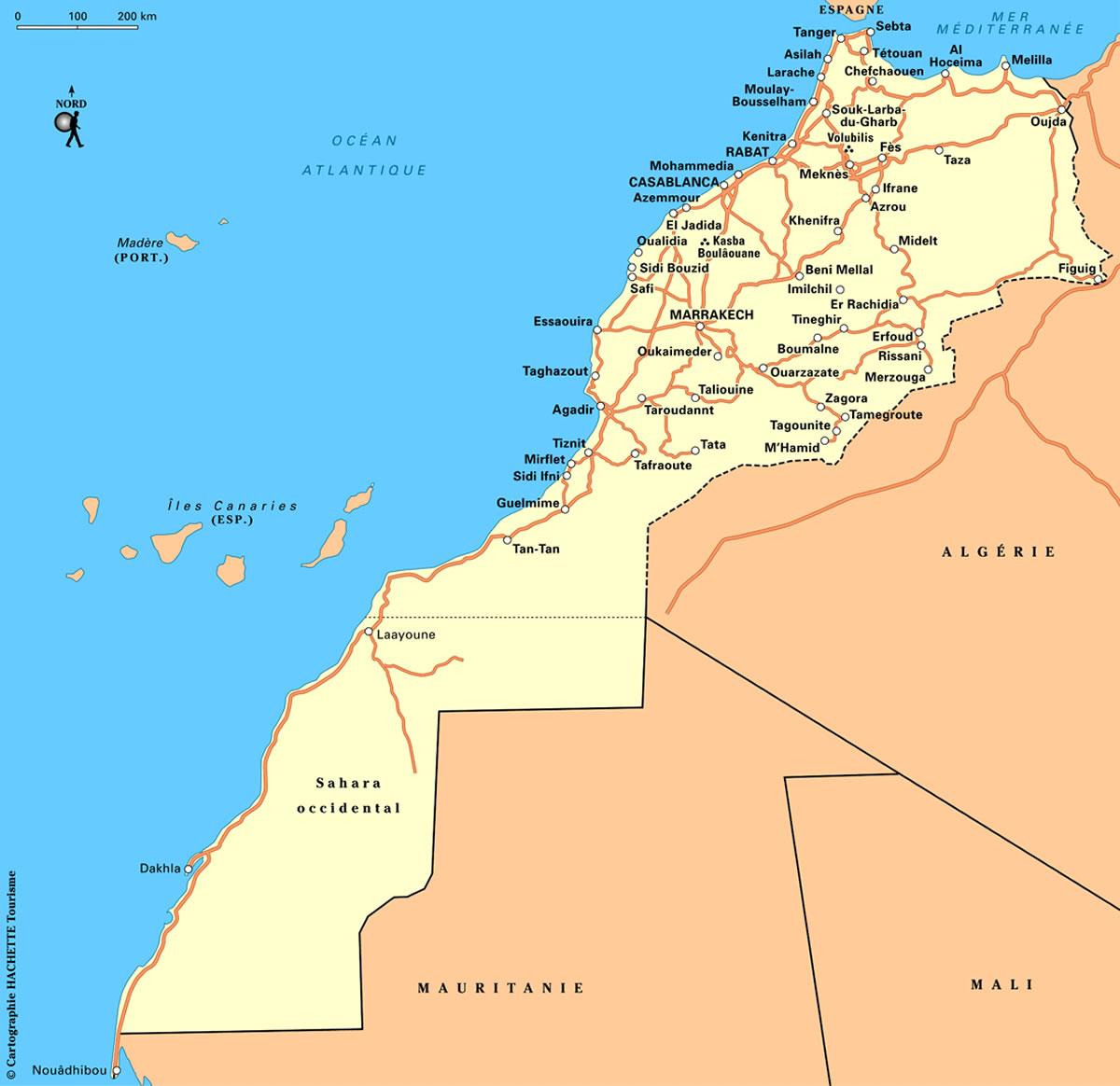 carte routes du maroc carte routi re marocaine carte des routes du maroc. Black Bedroom Furniture Sets. Home Design Ideas