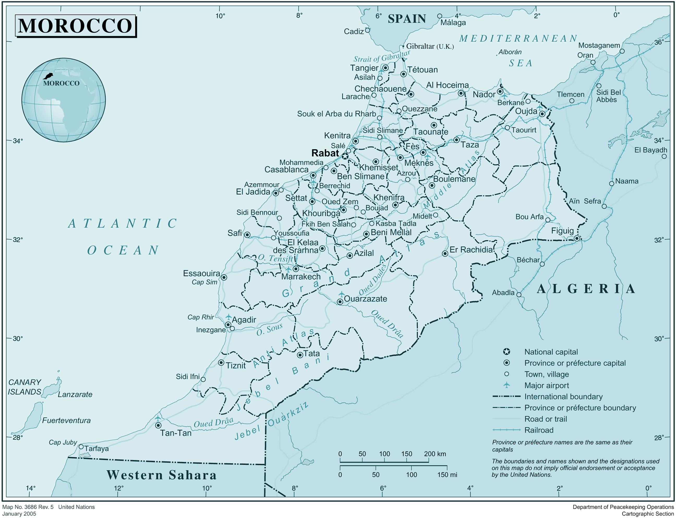 Carte Des Villes Du Maroc