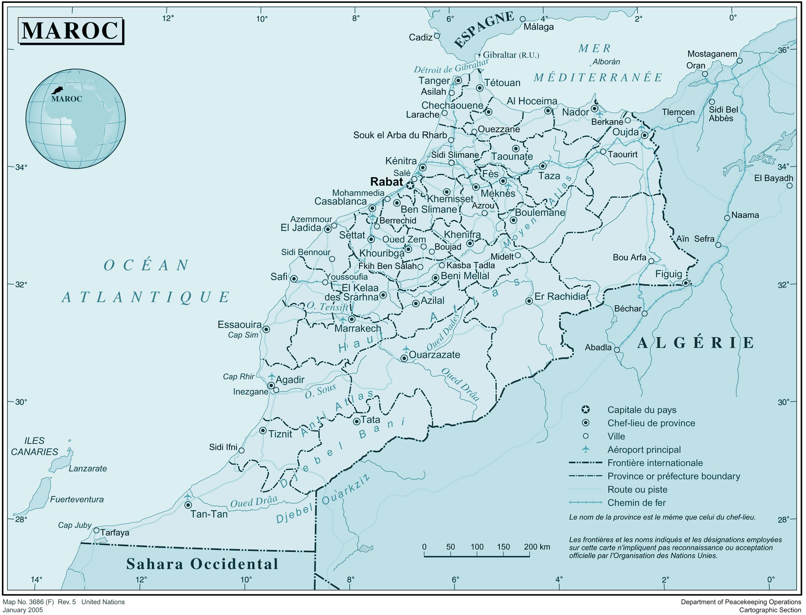 Carte Du Maroc Français Carte Du Maroc Avec Noms Des Villes