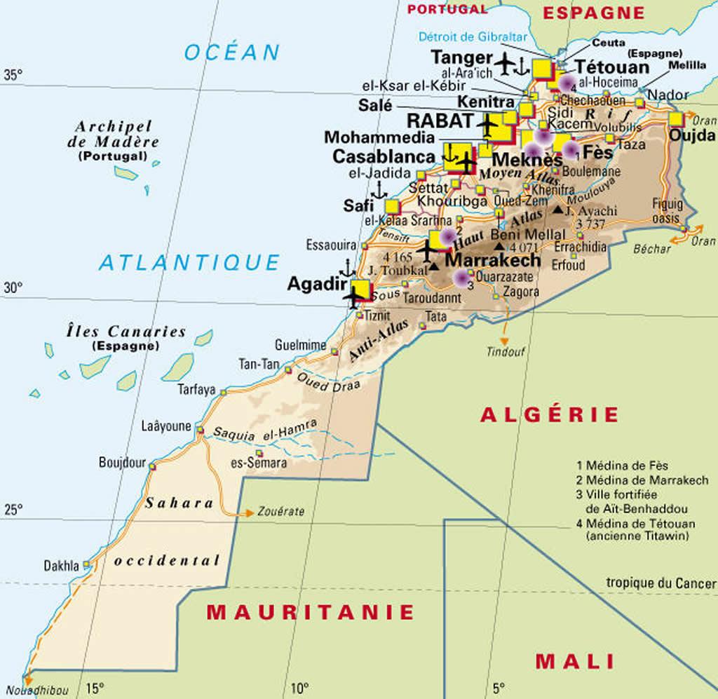 Carte Algerie Aeroports.Carte Villes Aeroports Maroc Carte Des Villes Et Des