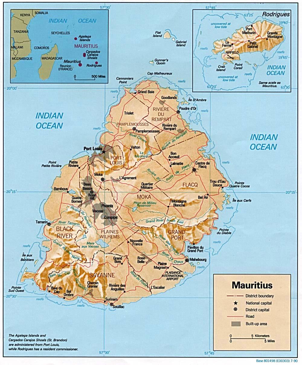 Carte Île Maurice, Carte de l'Île Maurice