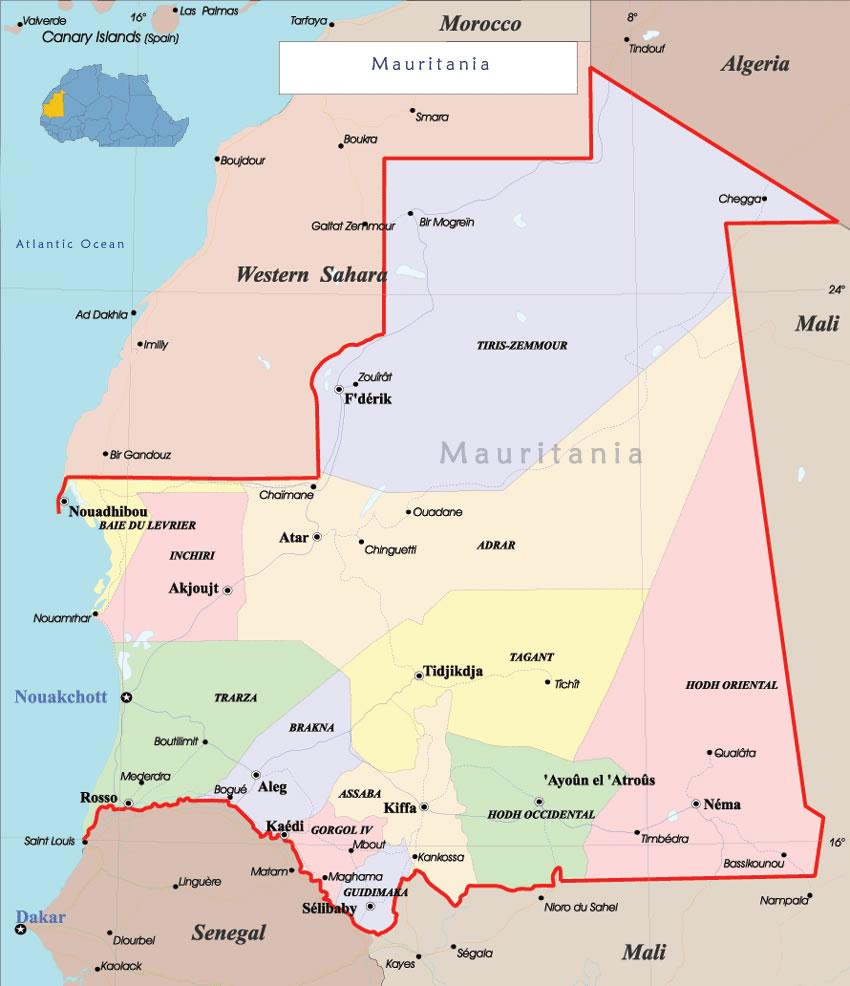 Carte Mauritanie, Carte de la Mauritanie