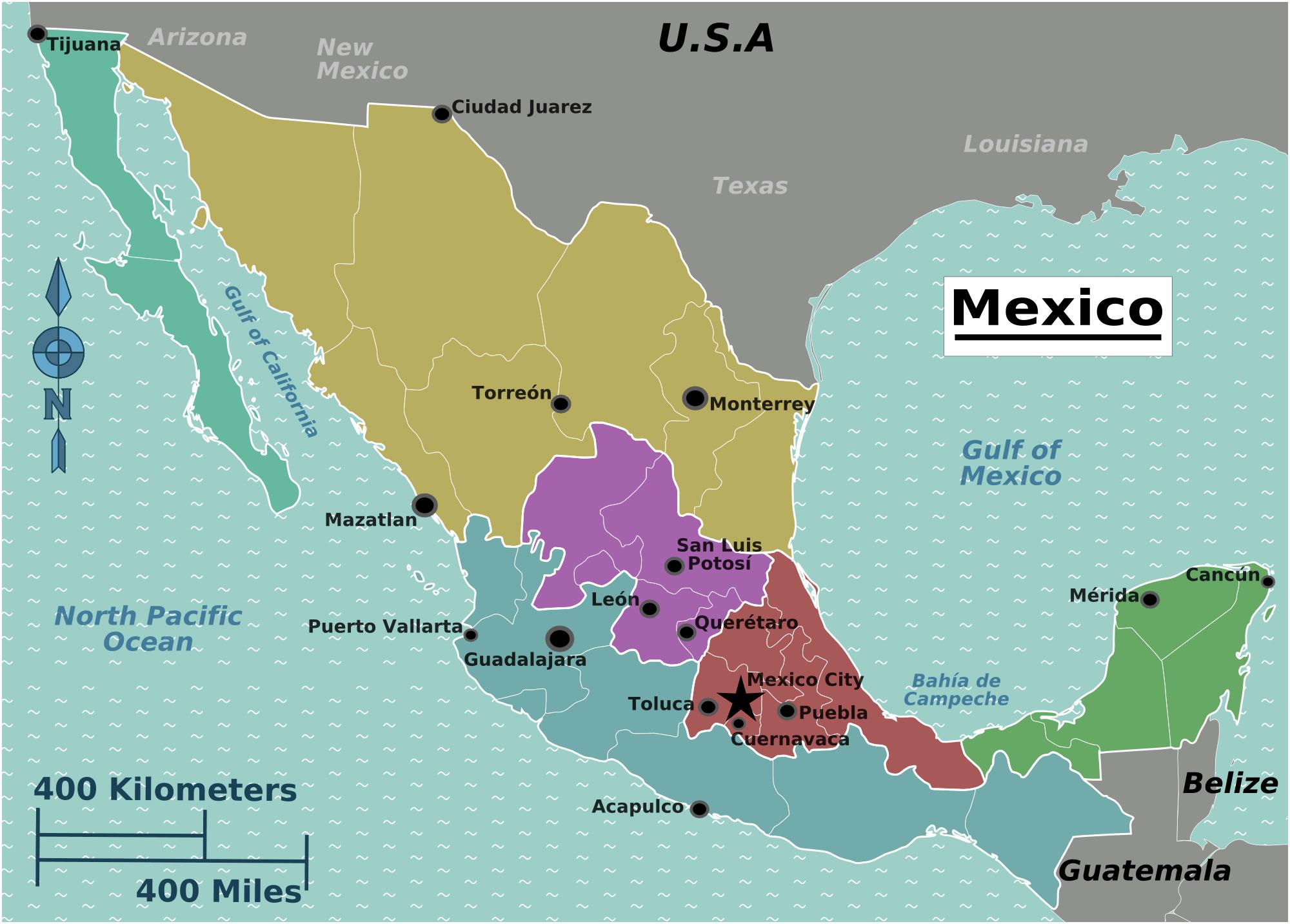 Carte Regions Mexique Couleur Carte Des Regions Du Mexique En Couleur