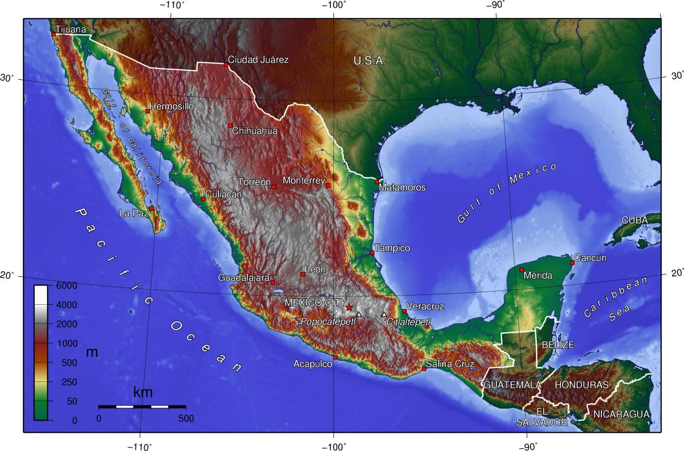 Carte Topographique Mexique Carte Topographique Du Mexique