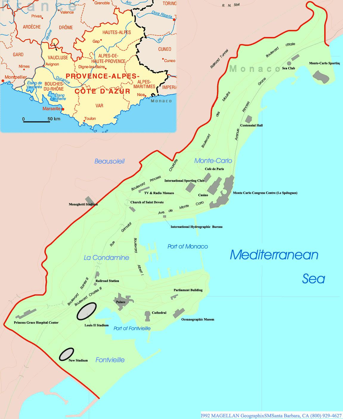 Carte frontières monaco, Carte des frontières de monaco
