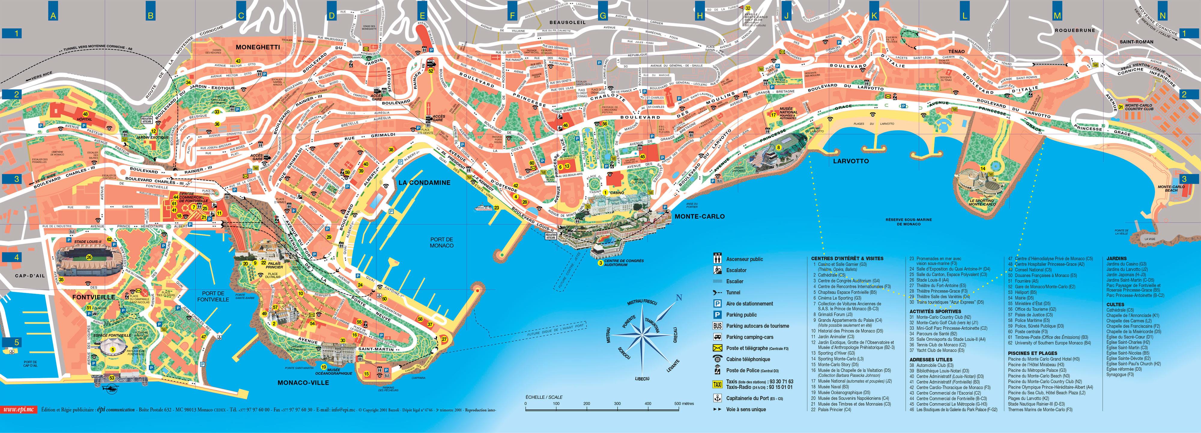 Monaco carte touristique - Office de tourisme de monaco ...