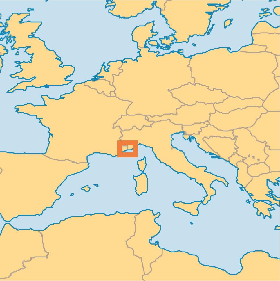 monaco sur la carte du monde