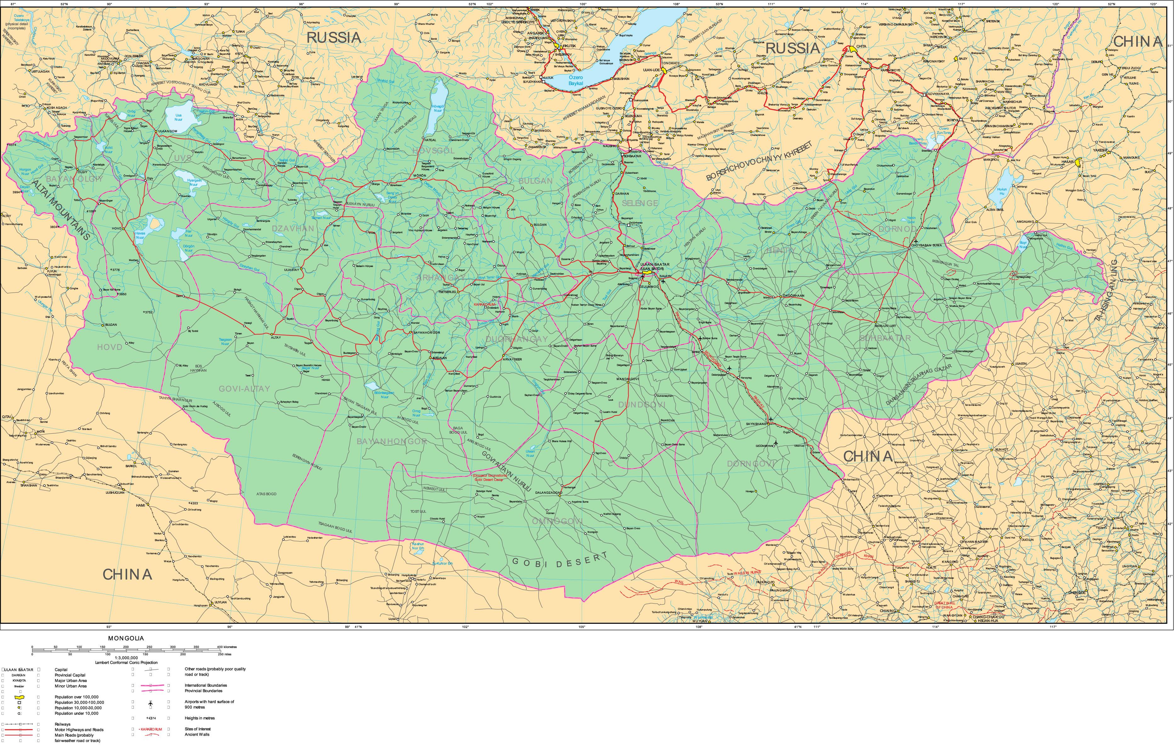 Carte routière Mongolie, Carte routière de Mongolie