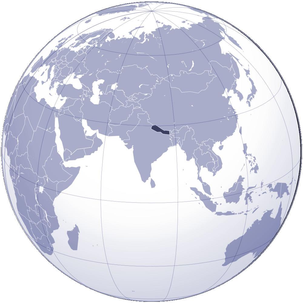 Localiser Népal sur carte du monde, Localiser pays de Népal sur