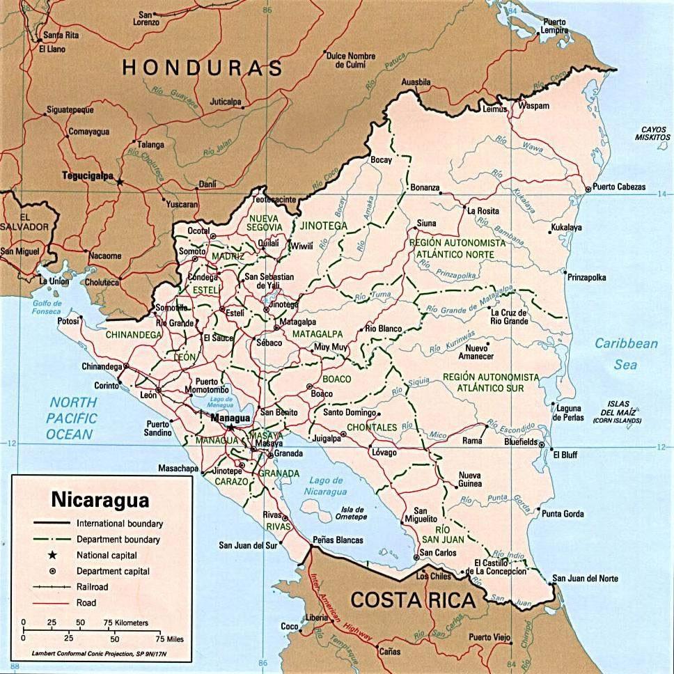 Carte G 233 Ographique Nicaragua Carte G 233 Ographique De Nicaragua