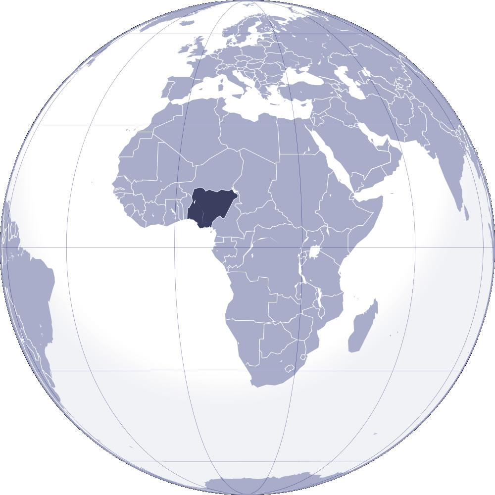 nigeria sur la carte du monde