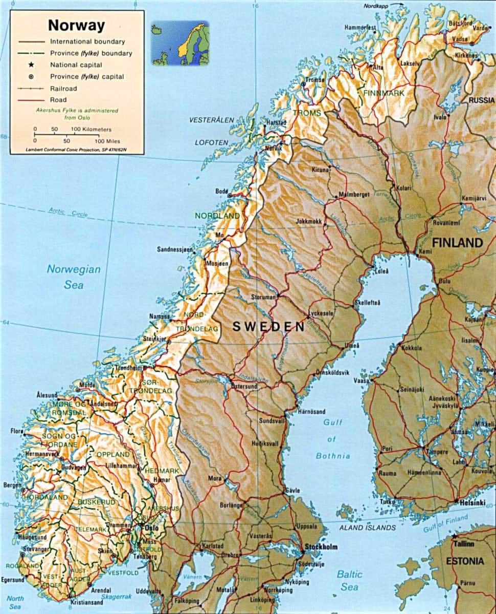 Carte Norvège, Carte du Norvège