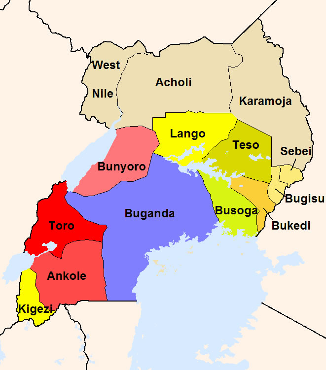 Carte Du Monde Ouganda.Carte Regions Ouganda Couleur Carte Des Regions De Ouganda