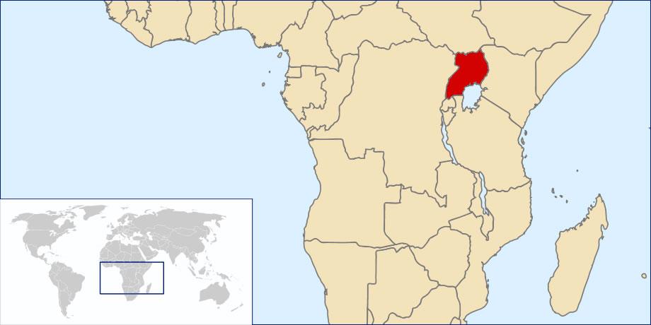 Situer Ouganda sur carte du monde, Situer pays de Ouganda sur