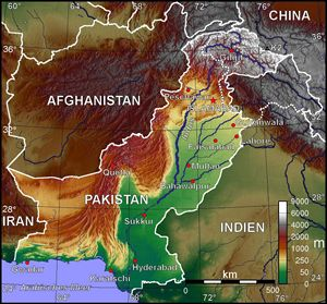 Carte topographique Pakistan