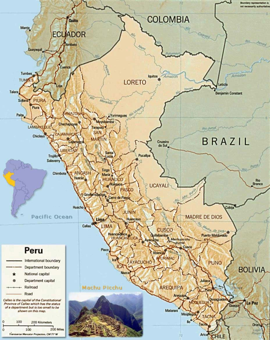 Carte géographique Pérou, Carte géographique de Pérou