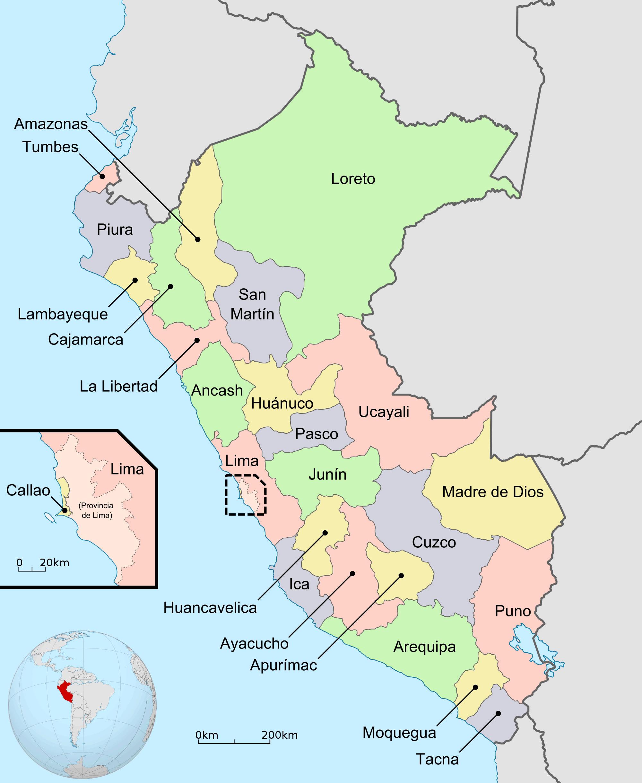 Häufig Carte régions Pérou couleur, Carte des régions de Pérou en couleur MO31